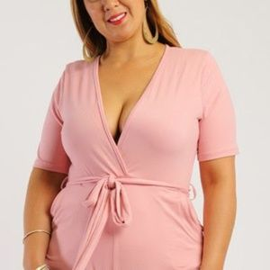 Short Sleeve Romper Pink Plus Size